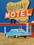 Semestra motellet med klassisk bilmålning royaltyfri fotografi