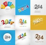 Semestra samlingen för härligt hälsningkort för lyckligt nytt år Arkivfoton