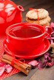 Semestra tea i rött kuper, kakor, teapoten och kanelpinnar Arkivbilder