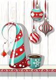 Semestrar bevekelsegrund, julpynt med det abstrakta kotteträdet och koppen kaffe, illustration vektor illustrationer