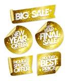 Semestrar den stora försäljningen för guld- klistermärkear, erbjudandet för det nya året, sista försäljning för nytt år, det spec Arkivfoto