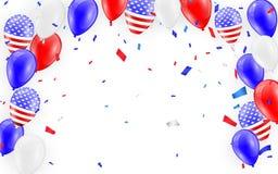 Semestrar kortdesign Amerikanska flaggan sväller med konfettibakgrund också vektor för coreldrawillustration royaltyfri illustrationer