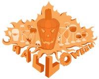 Semestrar orange objekt för allhelgonaaftonpumpa uppsättningstångG Royaltyfria Bilder