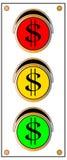 Semáforo de la muestra de dólar Imágenes de archivo libres de regalías