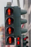 Semáforo de peatón de la luz roja Fotografía de archivo libre de regalías
