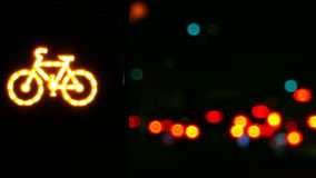Semáforo intermitente do cuidado para bicicletas filme