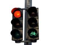 Semáforo, verde para el ciclista    Imagen de archivo libre de regalías