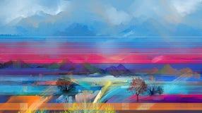 Semi абстрактное дерево, поле, луг Природа ландшафта абстракции бесплатная иллюстрация