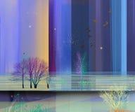 Semi абстрактное изображение предпосылки пейзажных живописей иллюстрация штока