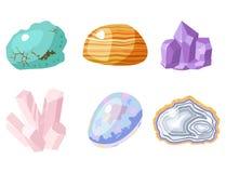 Semi драгоценные камни драгоценных камней и минеральный камень изолировали иллюстрацию вектора кости красочную сияющую кристаллич Стоковая Фотография