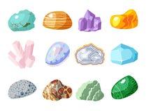 Semi драгоценные камни драгоценных камней и минеральный камень изолировали иллюстрацию вектора кости красочную сияющую кристаллич Стоковое Изображение