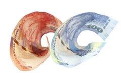 2 Semi свернутых бумажные деньги Южной Африки Стоковые Изображения