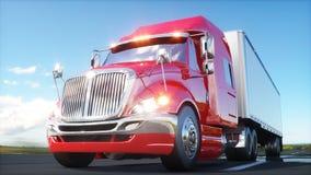 Semi aanhangwagen, Vrachtwagen op de weg, weg Vervoer, logistiekconcept het 3d teruggeven Stock Fotografie