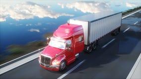 Semi aanhangwagen, Vrachtwagen op de weg, weg Vervoer, logistiekconcept het 3d teruggeven royalty-vrije illustratie