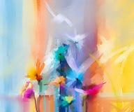 Semi abstract beeld van bloemen, in geel en rood met blauwe kleur Hand getrokken borstelslag, olieverfschilderijen royalty-vrije illustratie