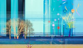 Semi abstract beeld van de achtergrond van landschapsschilderijen royalty-vrije illustratie