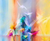 Semi- abstract image of flowers, in yellow and red with blue color. Hand drawn brush stroke, oil color paintings. Abstract colorful oil painting on canvas. Semi Royalty Free Illustration
