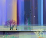 Semi abstract image of landscape paintings background stock illustration