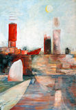 A semi-abstract painting. On the theme of harbours/sea/docks Stock Images