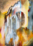 A semi-abstract painting - Gothic. Suggests high buildings and a rugged skyline Royalty Free Stock Photos