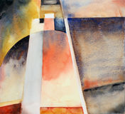 A semi-abstract watercolour image. Suggestive of a tower-like structure Royalty Free Stock Photography