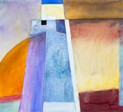 A semi-abstract watercolour image. Suggestive of a tower-like structure Stock Photos