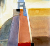 Semi-abstract watercolour painting Stock Image