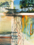 A semi-abstract watercolour painting. On the theme of water and trees Stock Photography