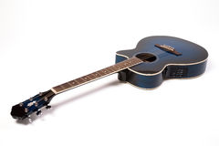 Semi-acoustic guitar. Blue semi-acoustic guitar on white Stock Images