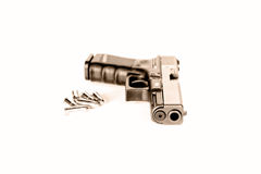 Semi-Automatic handgun with ammo, vintage Royalty Free Stock Photography