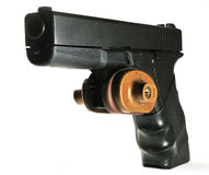 Semi-automatic handgun with trigger lock Stock Image