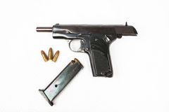 Semi-automatic 9mm gun isolated on white background. Semi-automatic 9mm gun isolated Royalty Free Stock Images