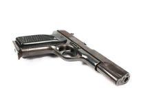 Semi-automatic 9mm gun isolated on white background. Semi-automatic 9mm gun isolated Royalty Free Stock Photos