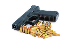 Semi automatic pistol and ammo Stock Images