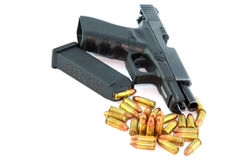 Semi automatic pistol and ammo Royalty Free Stock Image