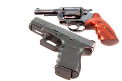 Semi automatic pistol and revolver gun Stock Images