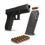 Semi-automatic pistol on white 3D Illustration Royalty Free Stock Photos