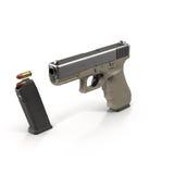 Semi-automatic pistol on white 3D Illustration Stock Photos