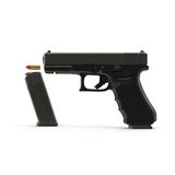 Semi-automatic pistol on white 3D Illustration Royalty Free Stock Images