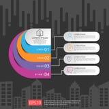 semi-círculo para el concepto del negocio infographic con el fondo abstracto de la nube y del edificio Plantilla para la disposic ilustración del vector