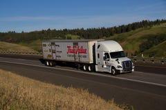 Semi-camión de TrueValue/Freightliner blanco fotografía de archivo libre de regalías