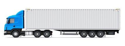Semi-caminhão com o recipiente de carga pesado de 40 ft ilustração do vetor