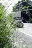 Semi caminhão obscuro na grama verde do reboque da caixa da estrada Imagens de Stock