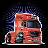 Semi-camion de dessin animé de vecteur Image libre de droits