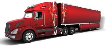 Semi-camion dell'americano di natale Fotografia Stock Libera da Diritti