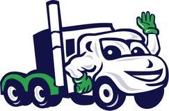 Semi camion Rig Waving Cartoon Photos libres de droits