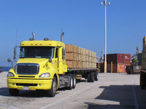 Semi with cargo. Semi truck with cargo at port stock image