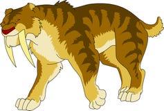 Semi cartoon sabertooth tiger pre historic ice age. Animal extinct royalty free illustration