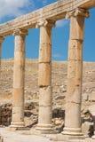 Semi-circle of columns forming a plaza at Jerash. Stock Images