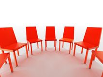 Semi circle of red chairs. Three dimensional illustration of red chairs in semi circle, isolated on white background Stock Image